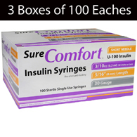 Allison Medical SureComfort Insulin Syringes-3 Boxes of 100