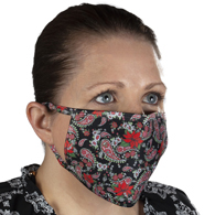 Celeste Stein Ear Loop Mask-Red Black Paisley Poinsettia
